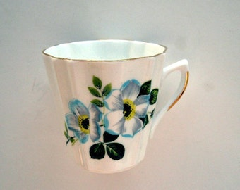 Vintage Cup Bone China Coffee Tea Floral Blue England