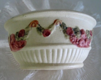 Vintage Bowl Weller Art Pottery Roma Rose Planter Pink Cream Green 1920s