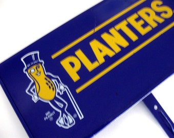 Vintage Planters Peanut Sign Mr. Peanut Advertising Display Sign Metal