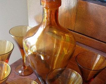 Vintage Cambridge Decanter Wine Set Wine Glass Stemmed Glasses Amber
