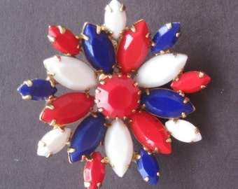 Vintage Rhinestone Pin Patriotic July 4th Red White Blue Glass Flower 1960s
