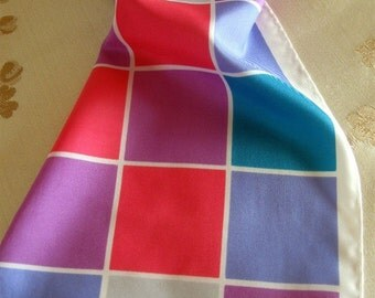 Vintage Scarf Checks Hot Pink Aqua Purple Blue Oblong Hippie Boho