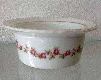 Vintage Ramkin Trinket Dish Victoria Austria Rose Swag Bower Porcelain 1900s
