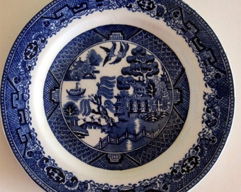 Vintage Blue Willow Plate Stoke on Trent England Blue White  G Jones and Sons England Pre 1921