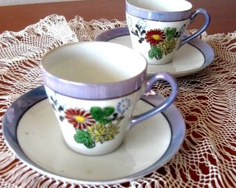 Vintage Lusterware Cup and Saucer Demitasse Floral Purple Red Yellow 1940s Two