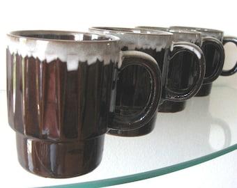 Vintage Coffee Mug Brown Drip Coffee Cup Ribbed Stacking Set of Four