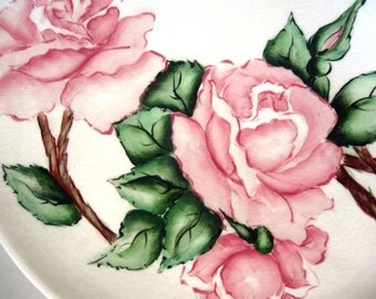 Vintage Platter Serving Tray Roses Hand Painted Flowers Pink Green 1968