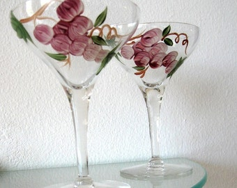 Vintage Wine Glasses Champagne Stems Painted Grape Leaves Wedding Toast  Purple Green Set of Two