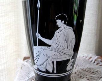 Vintage Whiskey Decanter  Jim Beam Bottle Greek Grecian Black White 1950s