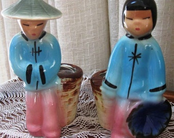 Vintage Ceramic Planter Oriental Royal Copley Boy Girl Baskets Set of Two 1950s