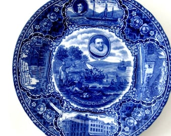 Vintage Historical Plate Blue and White Souvenir Landing of Hendrick Hudson 1911