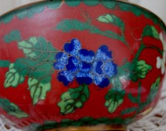 Vintage Cloisonne Bowl Enamel Hand Wrought Copper Filigree Rice Bowl 1900s Orange Blue China