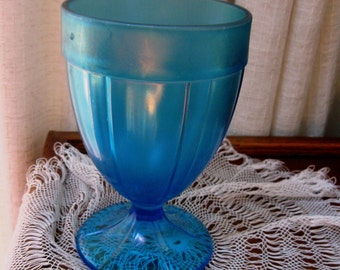Vintage Fenton Candy Jar Celeste Blue Stretch Glass Wedding Chalice 1920s