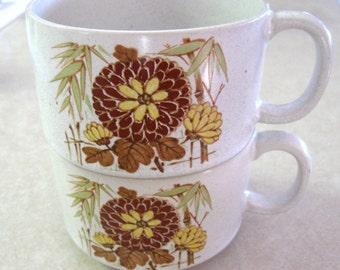 Vintage Soup Cup Mug Bamboo Oriental Floral Japan Orange Yellow Mint Green Set of Two