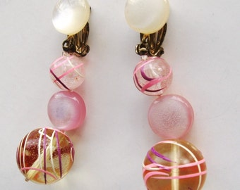 Vintage Earrings Dangle Lucite Pink Painted Moon Glow Signed  Japan 1960s