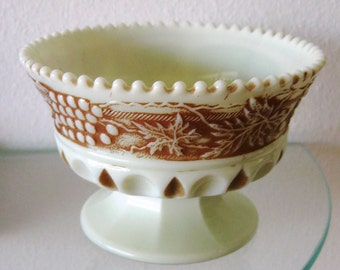 Vintage Custard Glass Cup Grape and Arbor Nutmeg Stain Northwood Footed 1900s