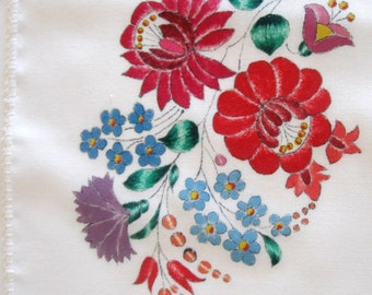 Vintage Doily Table Runner Hand Painted Linen Floral  Bold and Bright Red Blue Purple Set of Two 1960s