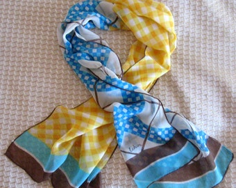 Vintage Echo Scarf Designer Checks Squares Chiffon Aqua Yellow Brown 1980s