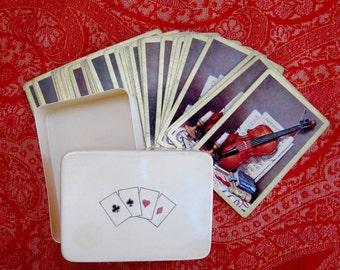 Vintage Celluloid Card Box Spades Clubs Hearts Diamonds Red Black with Violin Cards Orange Brown