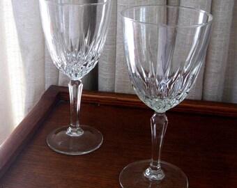 Vintage Wine Glasses Crystal Stemware Cristal d Arques Diamant Claret Wedding Set of Two