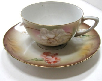 Vintage Cup and Saucer R S Germany Porcelain Flowers Carnations Roses Camellias