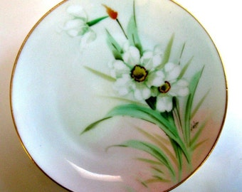 Vintage Pickard Plate Pheasant Eye Daffodils Narcissus Curtis H Marker Artist Signed  1900s