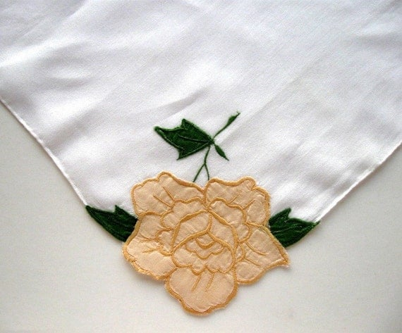 Vintage Handkerchief  Hankie Rose Floral Applique Yellow White