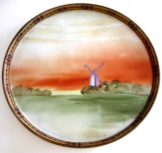 Vintage Nippon Tray Dresser Hand Painted Windmill Dutch Scene Gold Orange Green with Moriage