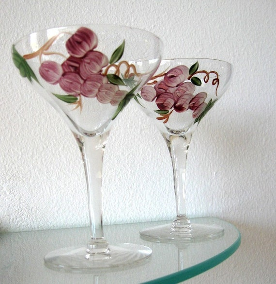 Vintage Champagne Wine Glasses Painted Grape Leaves Wedding Toast  Purple Green Set of Two