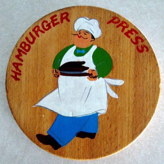 Vintage Hamburger Press Wood Wooden Hinged Chef Design 1960s
