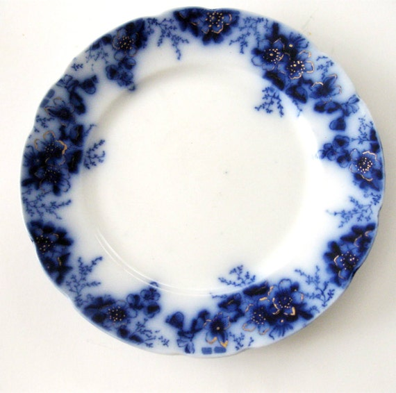 RESERVED for DANA - Vintage Flow Blue Plate Peach Pattern Johnson Bros. England 1900