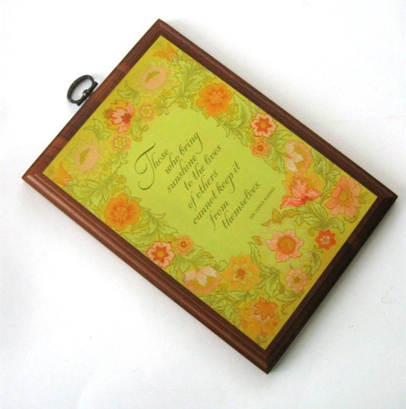 Vintage Friendship Plaque Wooden Hallmark Springbok Floral  Sunshine Picture Yellow Orange