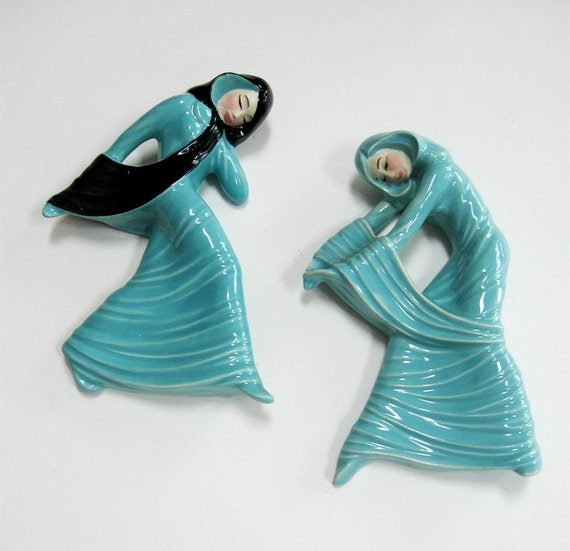 Vintage Ceramic Art Studio Shadow Dancers 1940s Aqua Black Art Nouveau