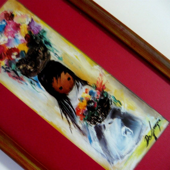 Vintage Ted DeGrazia Framed Art Print Many Many Flowers Native American Girl Red Yellow 1970s