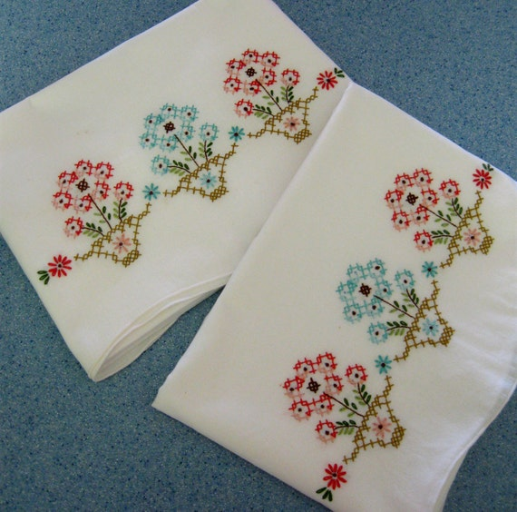 Vintage Pillowcases Embroidered Flowers In Pots Aqua Coral Old