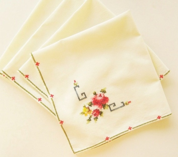 Vintage Linen Cloth Napkins Floral Pink Gold Green Cross Stitching Set of 4