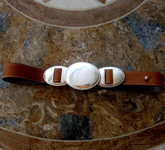 RESERVED for JONNE - Vintage Designer Leather Belt Italian Cipriani Brown Silver Buckle Small