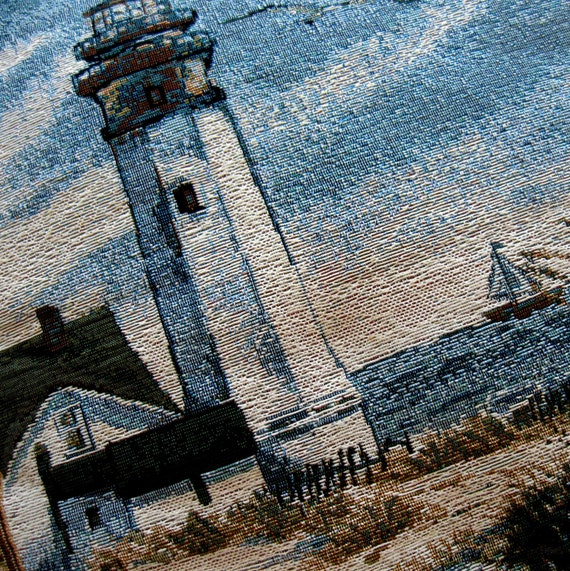 Vintage Pillow Lighthouse Tapestry Nautical Blue Brown Moss Green