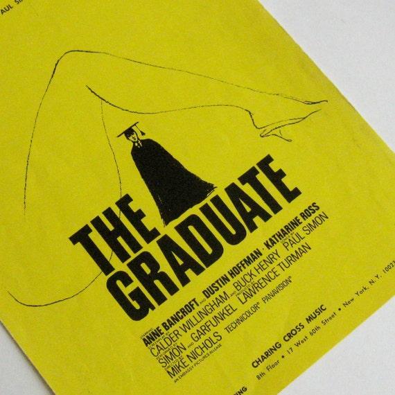 Vintage Sheet Music The Graduate Scarborough Fair Canticle Simon and Garfunkel Cover Art 1960s