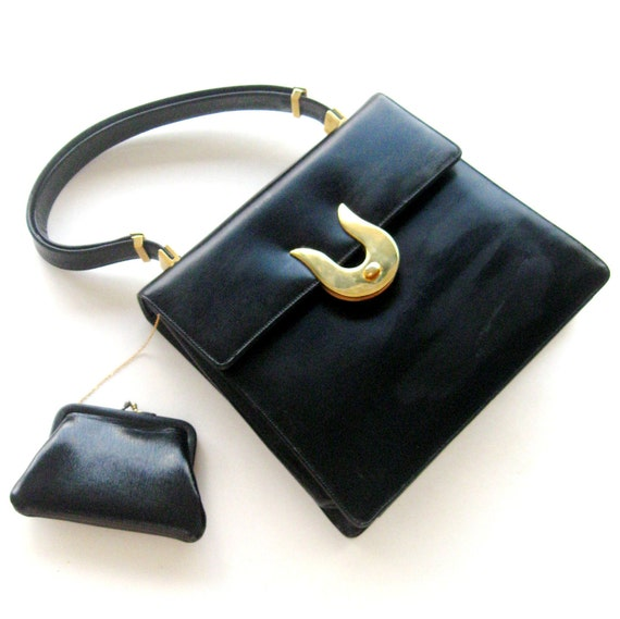 Vintage Handbag Purse Koret Designer Black Leather Brass Hardware 1960s