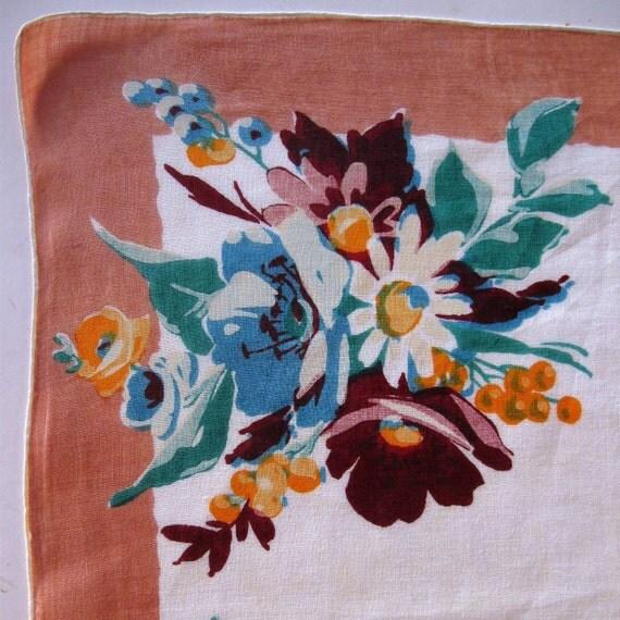 Vintage Handkerchief Floral Hanky Hankie Pink Burgundy Peony Daisies