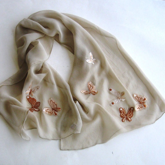 Vintage Scarf  Echo Designer Butterfly Chiffon Tan Taupe Brown 1980s