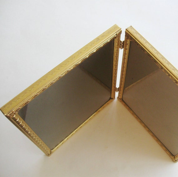 Vintage Picture Frame Gold Metal Double Bi Fold Hinged Embossed 8 x 10 1940s