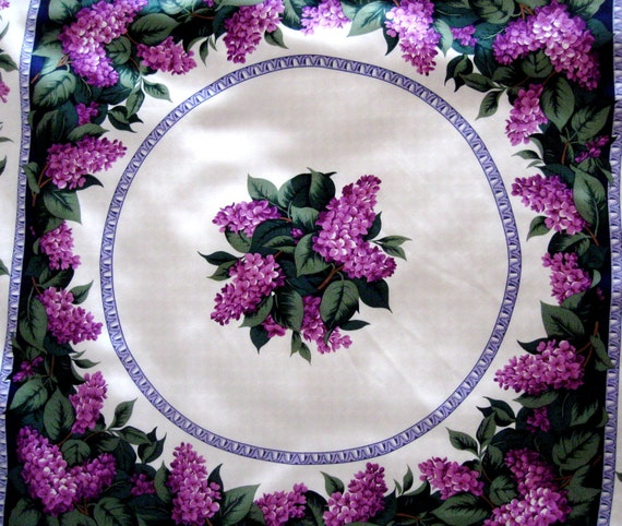 Vintage Silk Scarf Lilacs Floral Purple Boston Museum of Fine Arts Shoulder Wrap Oversized Square