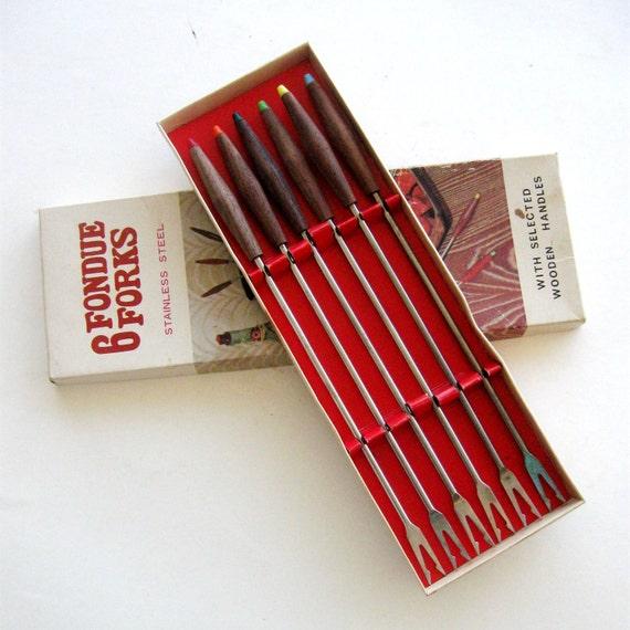 Vintage Fondue Forks Danish Rosewood Mid Century Modern In Box 1960s