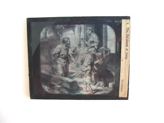 Six vintage magic lantern glass slides religious mcintosh battery and