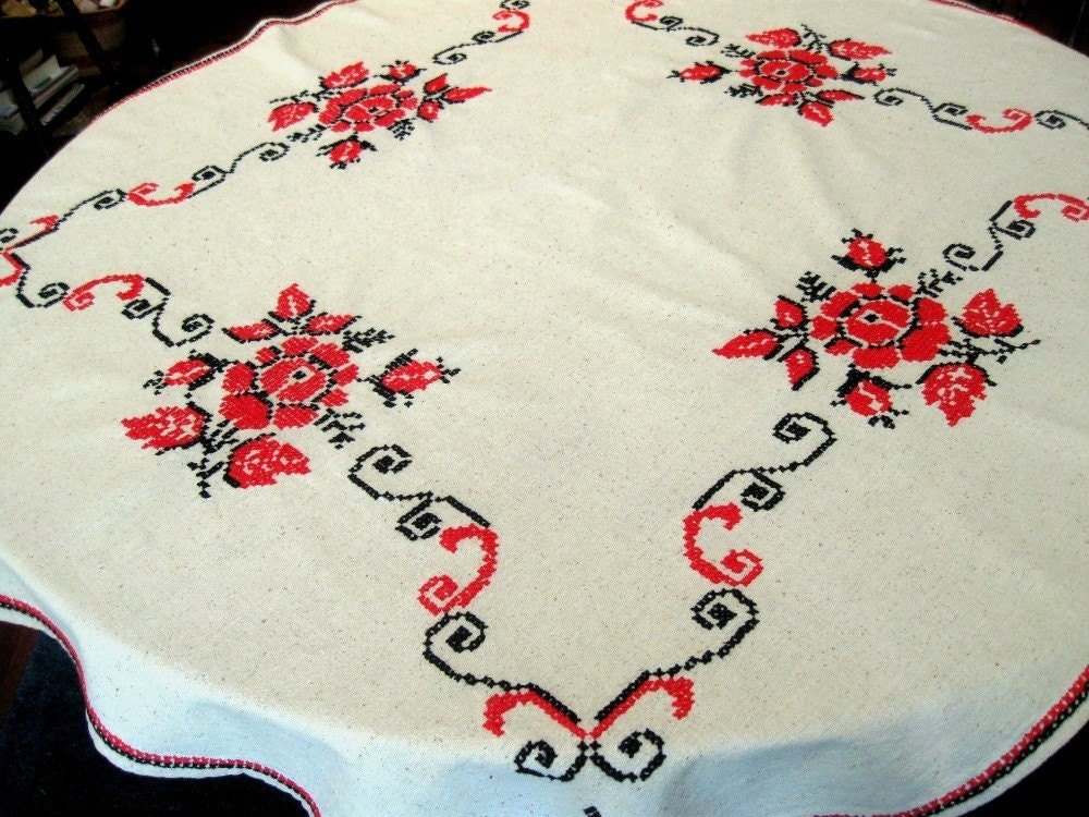 Vintage Linen Table Cloth Tablecloth Cross Stitch Roses Red