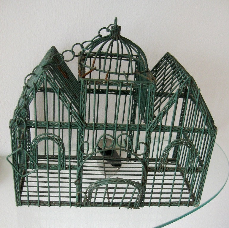 Vintage Bird Cage Decorative Victorian House Wire Hanging