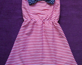 Stars And Stripes Dress Stripy Red Blue Bow 50s UK 6/8/10/12/14