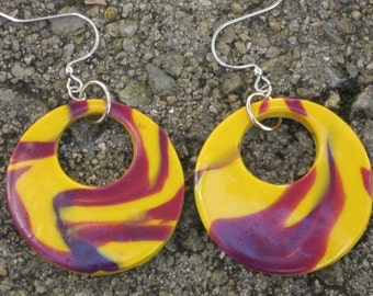 70s Inspired Retro Styled Polymer Clay Dangle Earrings